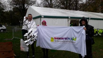 Martin and Women's Aid after Leicester Marathon 2018